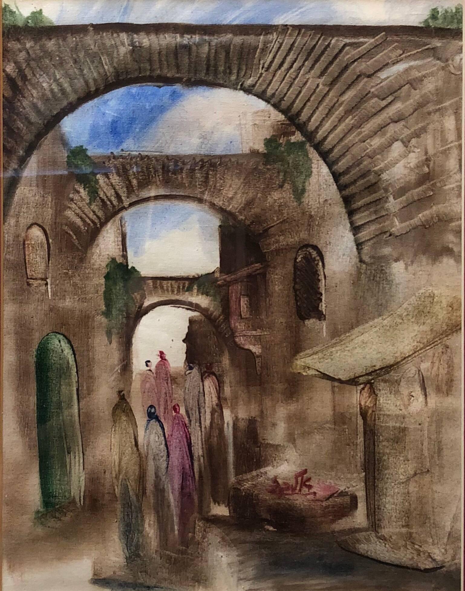 Jerusalem Old City Landscape, Expressionist Judaica Israeli Painting