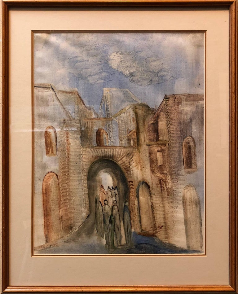 Jerusalem Old City Landscape, Expressionist Judaica Israeli Painting II - Art by Andre Elbaz