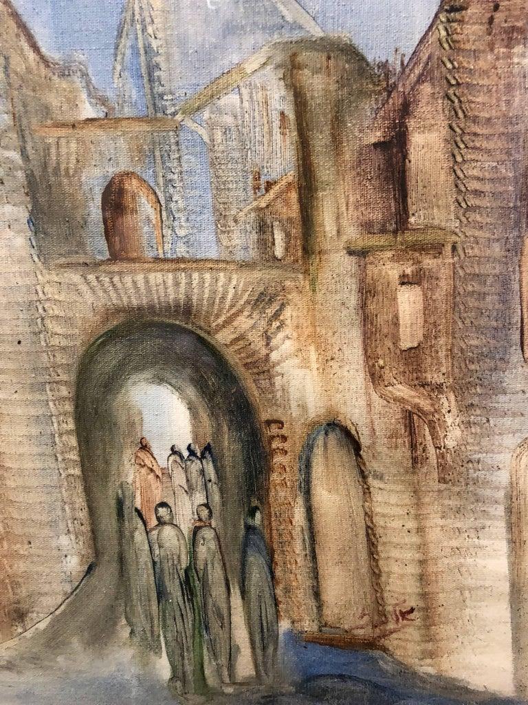 Jerusalem Old City Landscape, Expressionist Judaica Israeli Painting II - Brown Figurative Art by Andre Elbaz