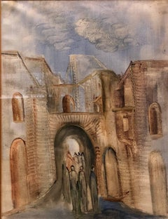 Jerusalem Old City Landscape, Expressionist Judaica Israeli Painting II