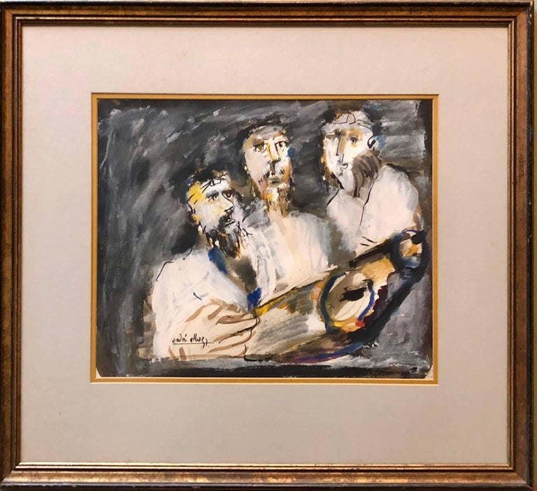 Three Rabbis at The Torah, Expressionist Judaica Painting - Black Figurative Painting by Andre Elbaz