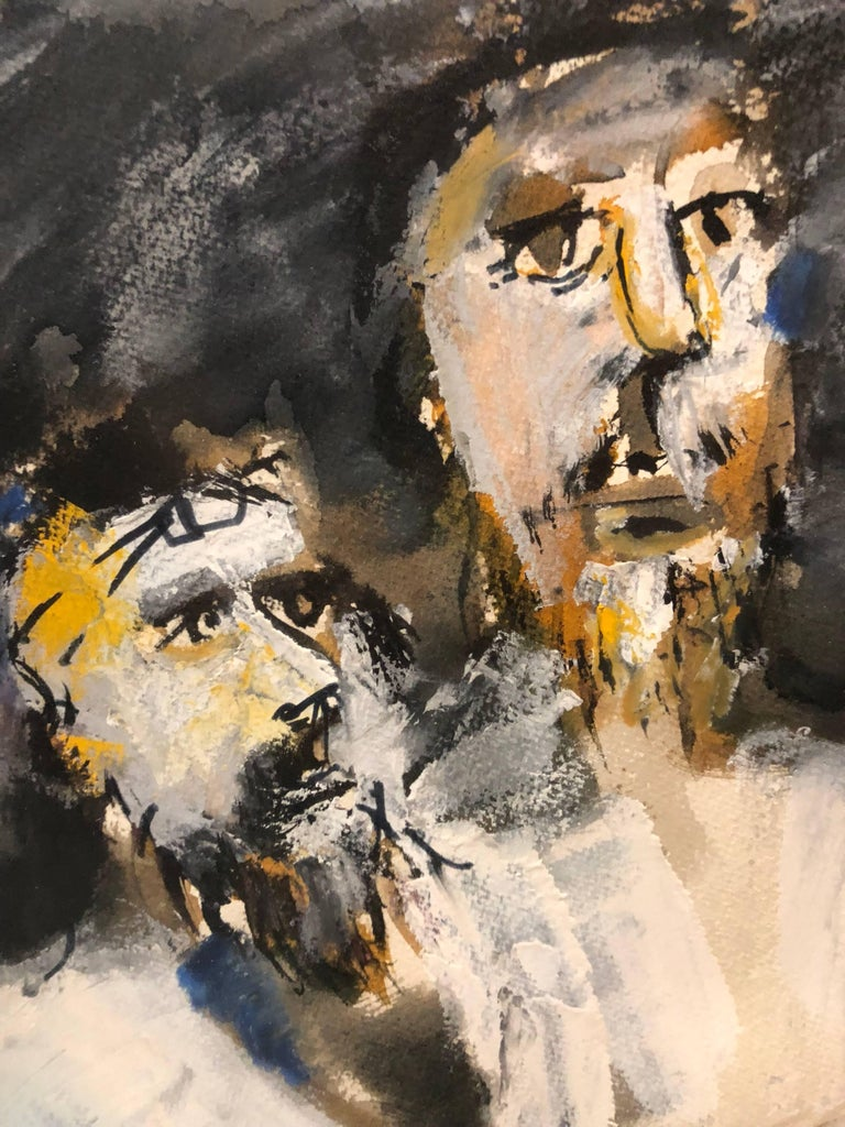 In this painting the artist uses gestural brushstrokes, which causes distortion and exaggeration for emotional effect. Andre Elbaz uses as his subject three male figures with tefilin are depicted during prayer.  André Elbaz (born April 26, 1934, El
