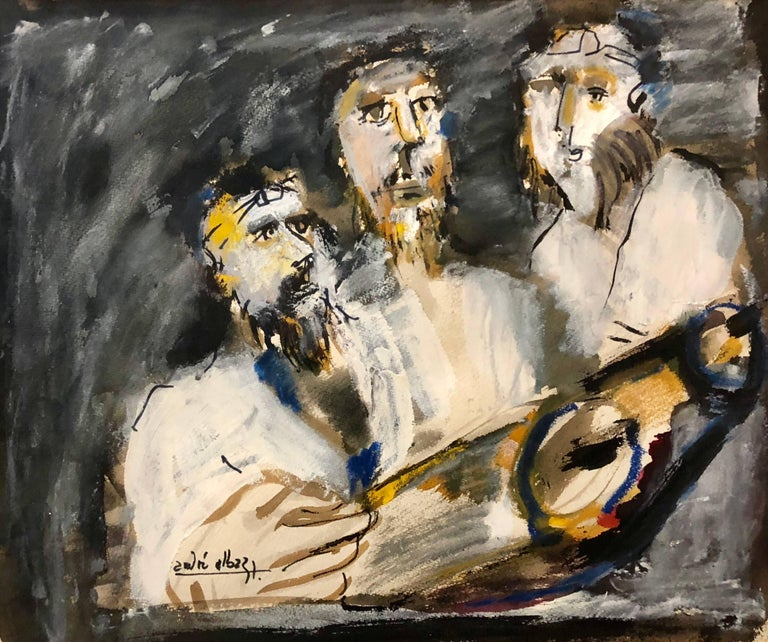 Andre Elbaz Figurative Painting - Three Rabbis at The Torah, Expressionist Judaica Painting