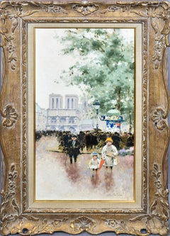 Andre Gisson Antique Original Impressionist Paris Street Scene Figure Painting