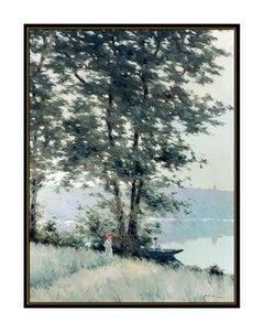 Andre Gisson Large Original Oil Painting On Canvas Signed Framed Landscape Art