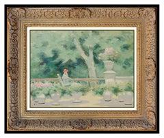 Andre Gisson Original Oil Painting On Canvas Signed Framed Floral Landscape Art