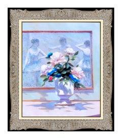Andre Gisson Original Oil Painting On Canvas Signed Framed Floral Still Life Art