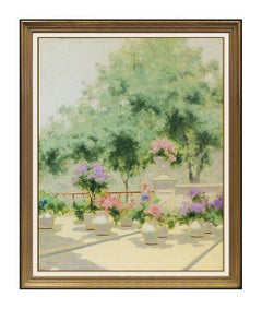 ANDRE GISSON Original OIL PAINTING ON CANVAS Signed French Landscape Art LARGE