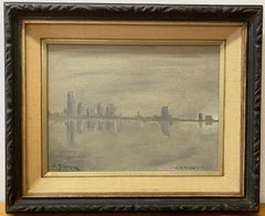 "Andre Gisson ""Visit to New York"" Original Oil Painting C.1960"