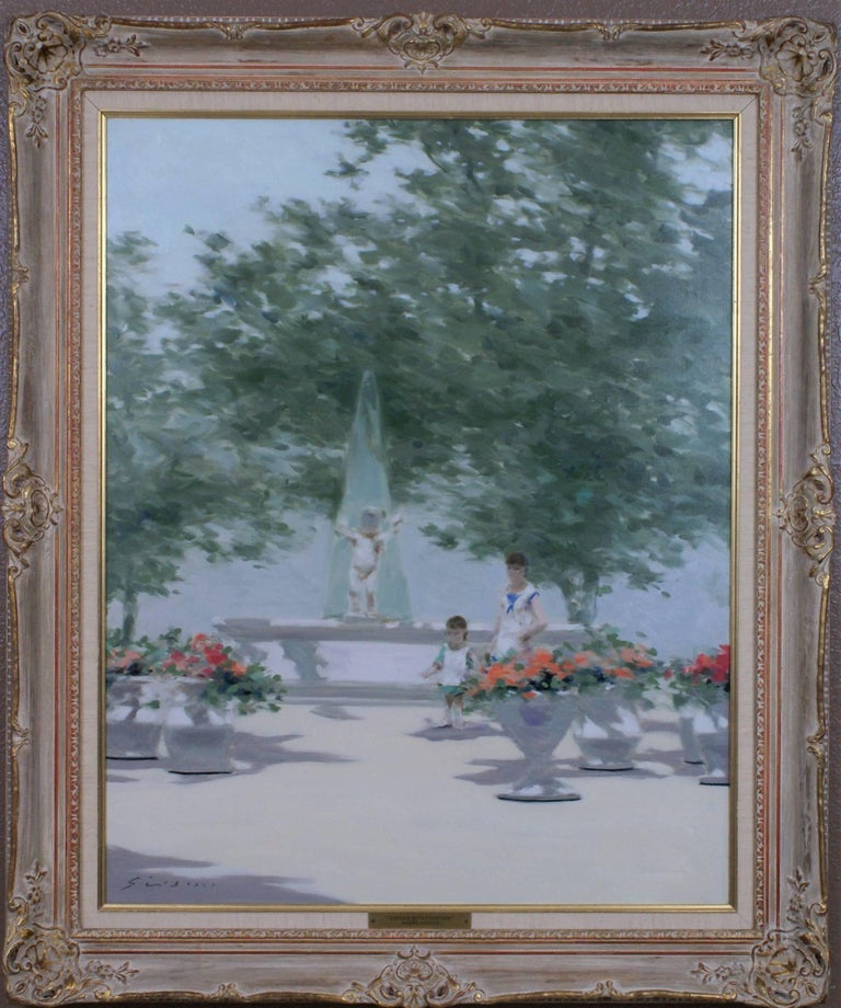 André Gisson Figurative Painting - Garden with Fountain