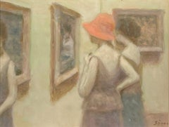 """Ladies at the Museum,"" Andre Gisson, Impressionist Gallery Scene with Women"