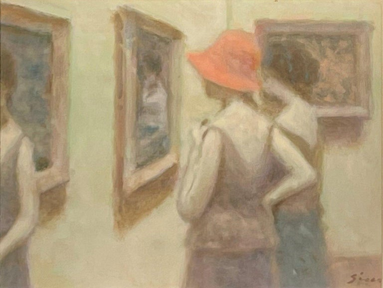 """André Gisson Figurative Painting - """"Ladies at the Museum,"""" Andre Gisson, Impressionist Gallery Scene with Women"""