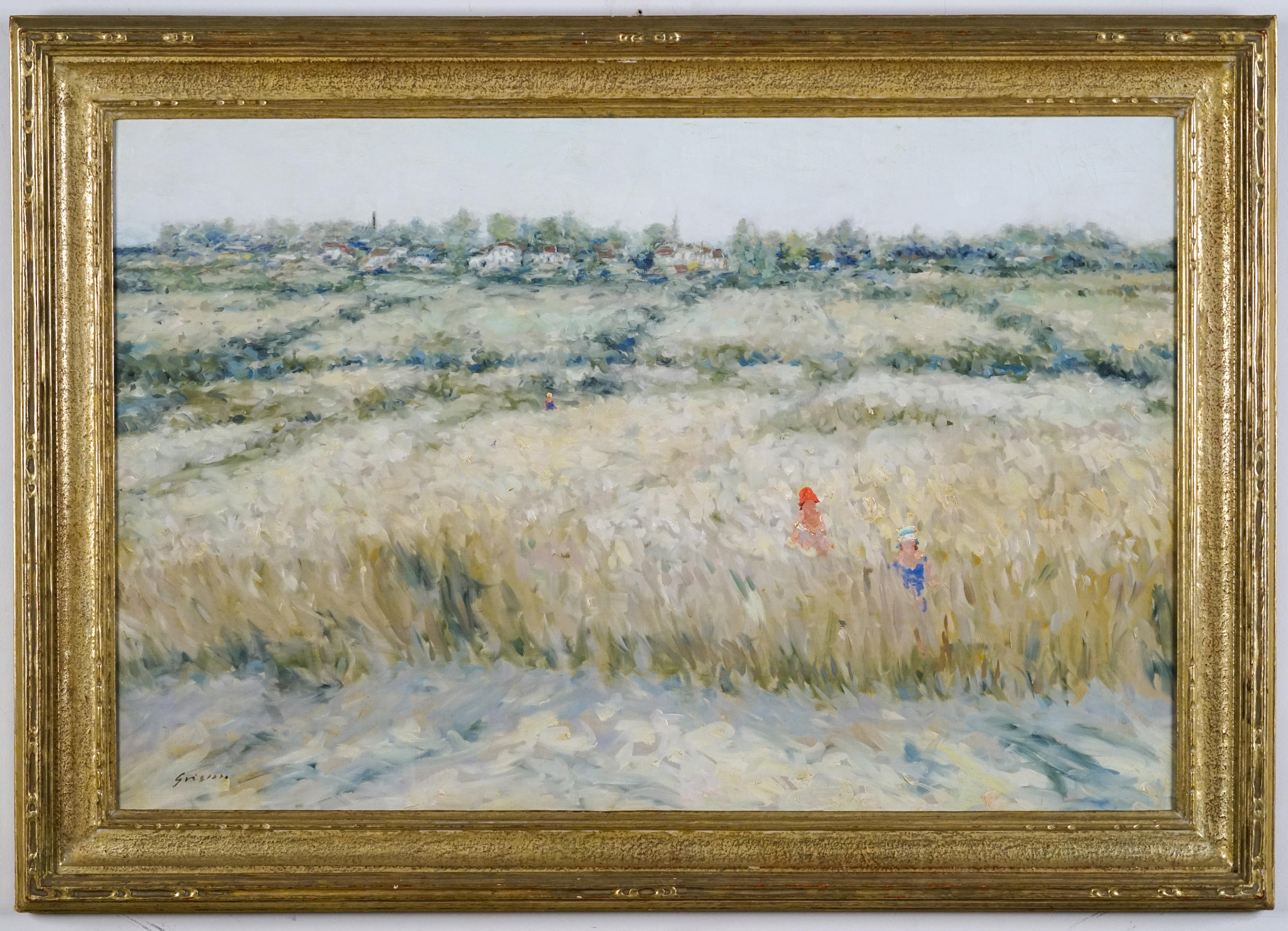 Mother & Child in a Landscape, framed in an important Carrig Rohane frame