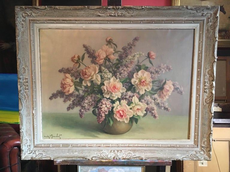 Floral Bouquet Pink Roses Very Large Oil Painting - Brown Still-Life Painting by Andre Granchet