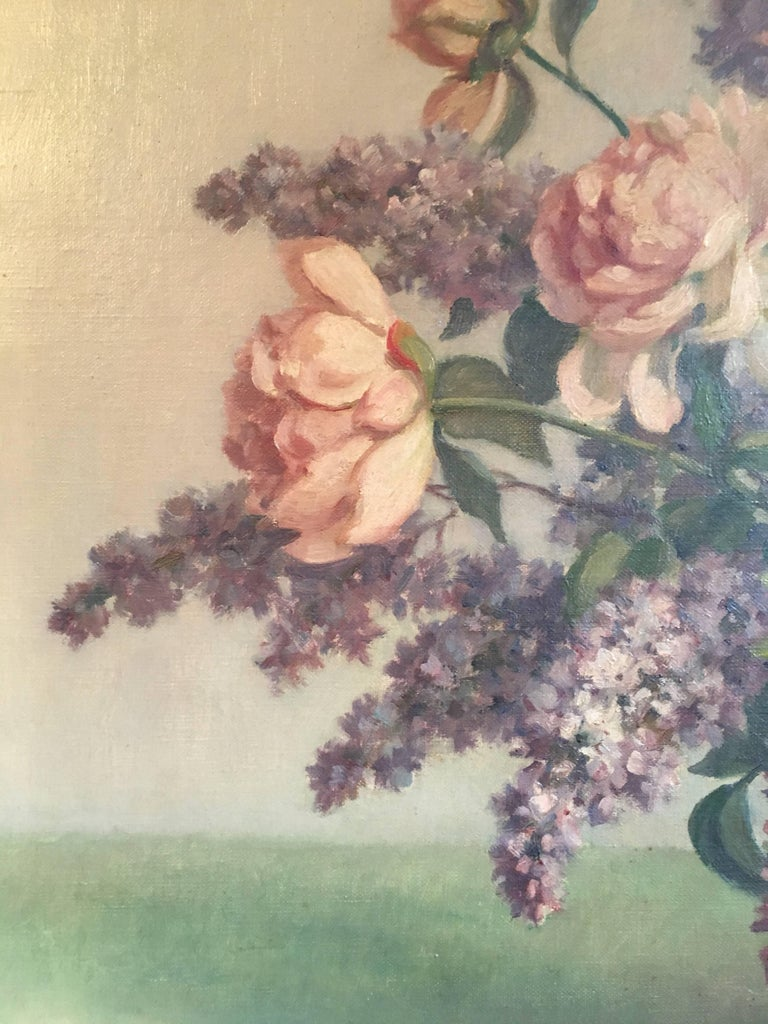 Floral Bouquet Pink Roses Very Large Oil Painting For Sale 1
