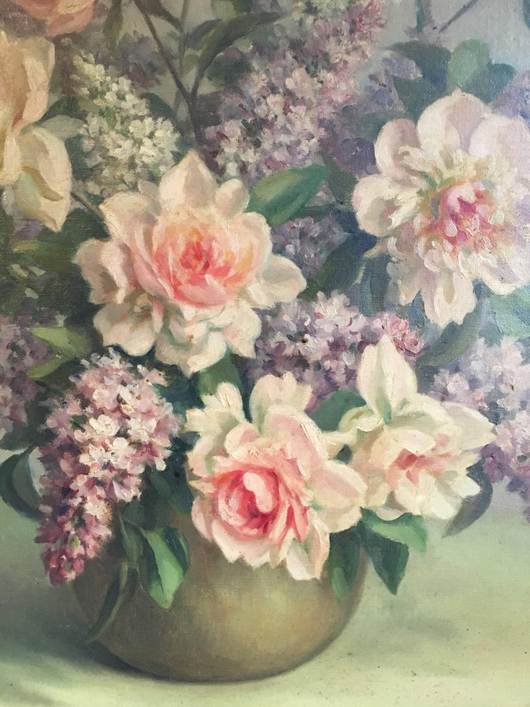 Floral Bouquet Pink Roses Very Large Oil Painting For Sale 2