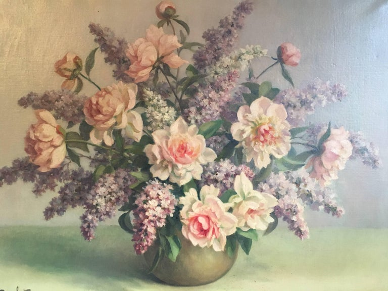 Floral Bouquet Pink Roses Very Large Oil Painting For Sale 3