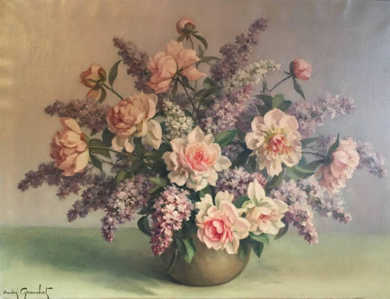 Andre Granchet Still-Life Painting - Floral Bouquet Pink Roses Very Large Oil Painting