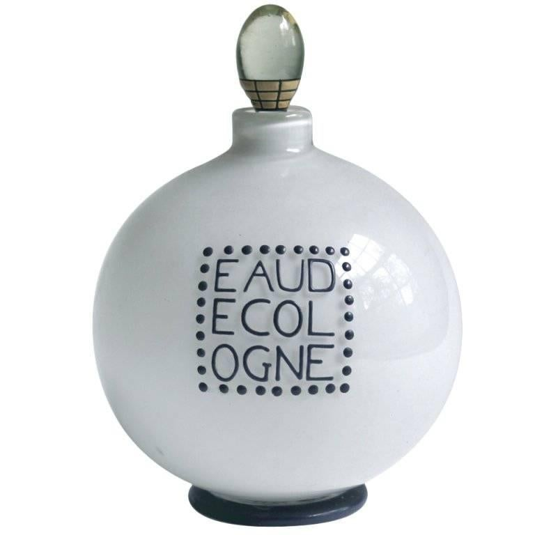 Andre Groult Enameled Glass Eau De Cologne Bottle for D'orsay For Sale
