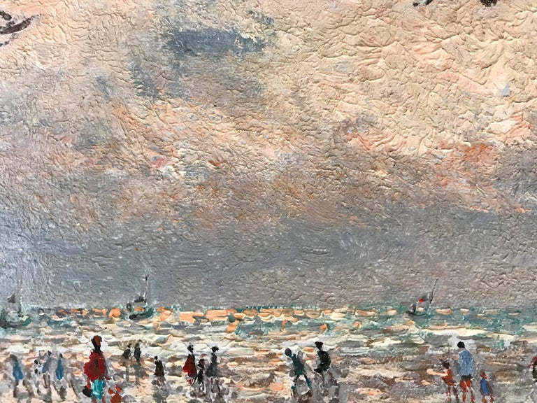 20th Century French Beach Scene with Figures For Sale 7