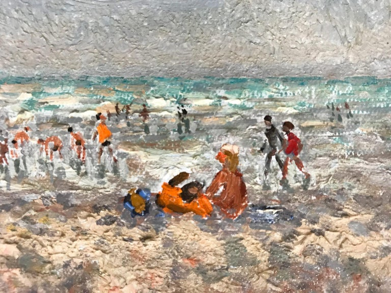 20th Century French Beach Scene with Figures For Sale 8