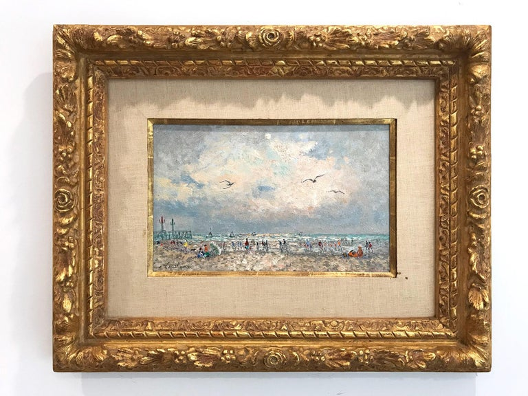 20th Century French Beach Scene with Figures For Sale 10
