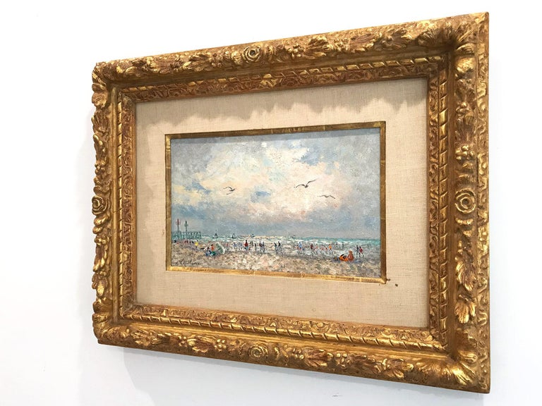 20th Century French Beach Scene with Figures For Sale 11