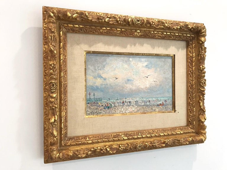 20th Century French Beach Scene with Figures For Sale 12