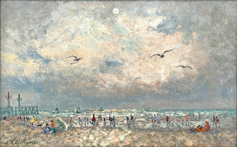20th Century French Beach Scene with Figures - Painting by Andre Hambourg