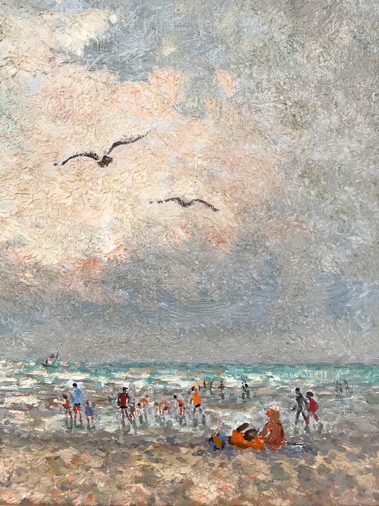 20th Century French Beach Scene with Figures - Impressionist Painting by Andre Hambourg