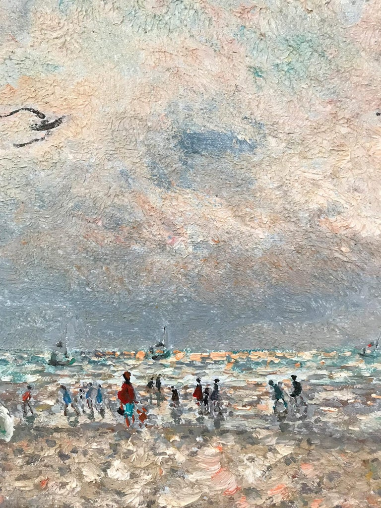 20th Century French Beach Scene with Figures - Brown Figurative Painting by Andre Hambourg
