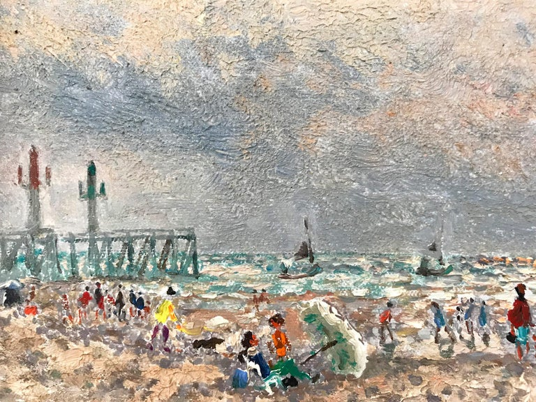 A marvelous oil depicting a beach scene with figures. One of France's most renowned artists, this piece is an excellent display of Hambourg's genre style beach scenes. Being influenced from his travels in Europe, the vibrancy of these locations come