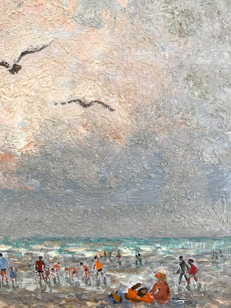 20th Century French Beach Scene with Figures For Sale 4