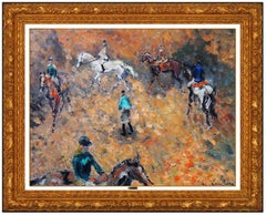 Andre Hambourg Original Painting Oil On Canvas Signed Horse Racing Sports Framed