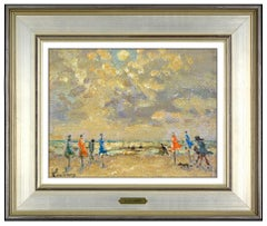 Andre Hambourg Original Painting Oil On Canvas Signed Landscape Beach Framed Art