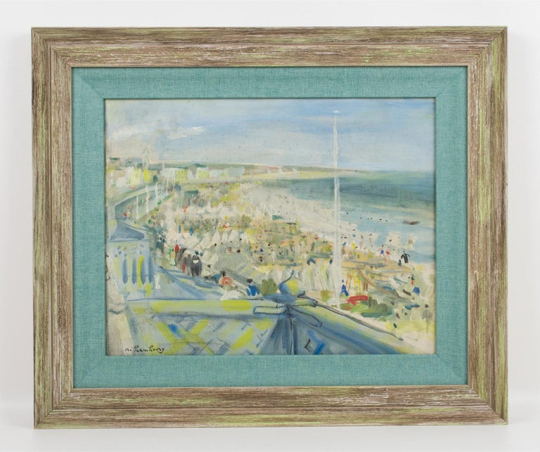 By the Beach Oil on Mounted Canvas Painting by André Hambourg For Sale 8