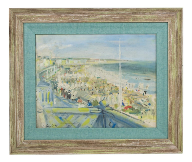 By the Beach Oil on Mounted Canvas Painting by André Hambourg For Sale 1