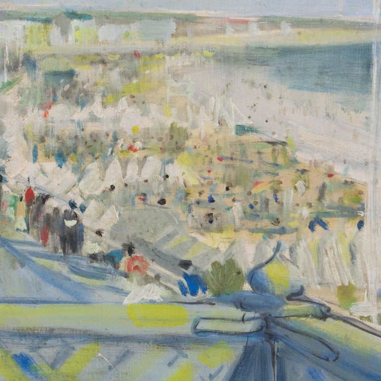 By the Beach Oil on Mounted Canvas Painting by André Hambourg For Sale 4
