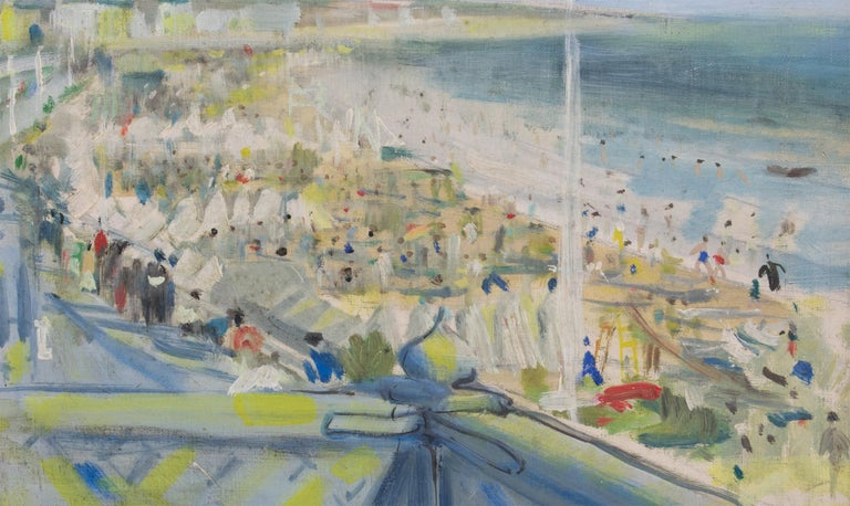 By the Beach Oil on Mounted Canvas Painting by André Hambourg For Sale 5