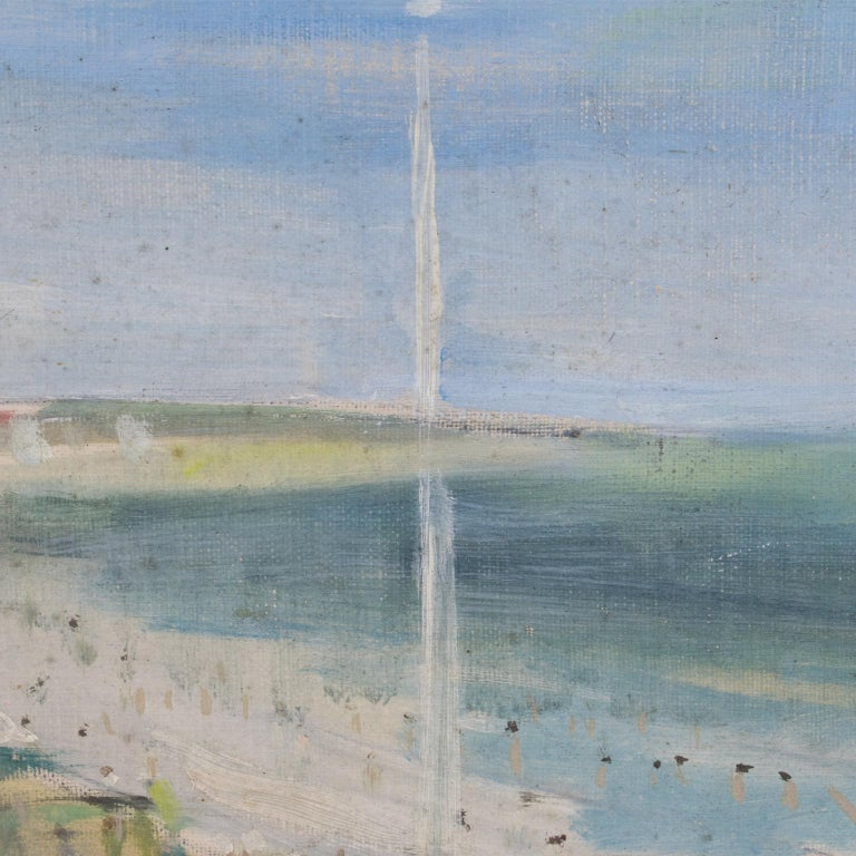 By the Beach Oil on Mounted Canvas Painting by André Hambourg For Sale 6