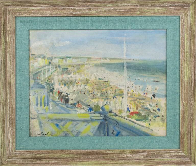 Andre Hambourg Landscape Painting - By the Beach Oil on Mounted Canvas Painting by André Hambourg