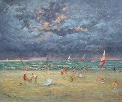 Nice time on Trouville beach. 1980. Canvas, oil, 44.5x52 cm