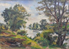 Giverny Impressionist River Landscape Modigliani's brother in law large painting