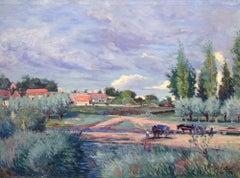 """""""Harvest Time,"""" André Jallot, oil, landscape, france, olive trees, impressionist"""