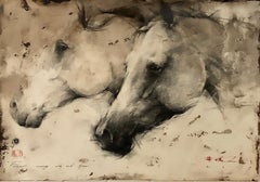 "Andre Kohn. ""Forever running wild & free"" Original Charcoal Drawing. Horses."