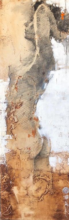 "Andre Kohn ""On the theme of orange"" Original mixed media figurative painting"