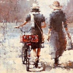 "Modern Impressionist Figurative Women Original Oil Painting Andre Kohn ""Sisters"""
