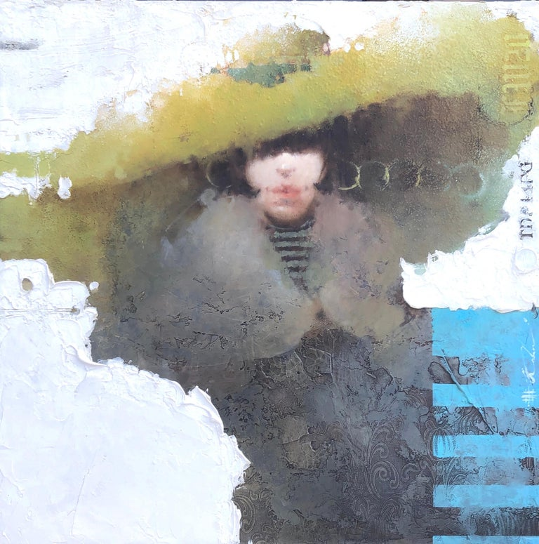 "Andre Kohn  Portrait Painting -  Women in Hat Original Face Portrait Mixed Media ""British Classical Liberalism"""