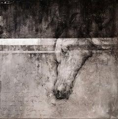 """Andre Kohn.""""I know great horses live again""""contemporary black/white mixed media"""