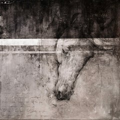 "Andre Kohn.""I know great horse live again""contemporary black & white mixed media"